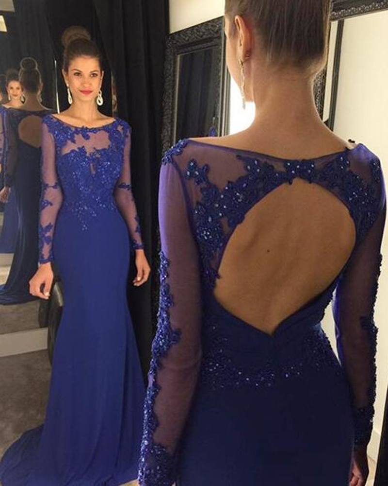 Dark Blue Chiffon Prom Dresses Open Back Long Sleeves Women Party Dresses  Scoop neck Long Dresses 4f9171340